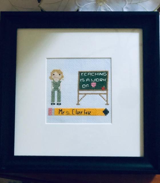 Cross Stitch Portrait of Teaching is a Work of Heart