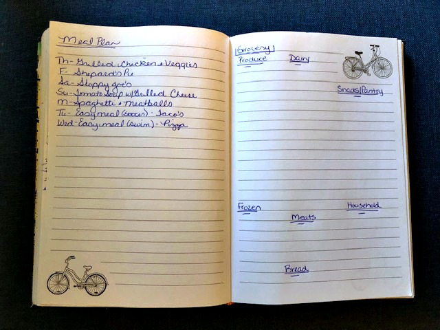 Notebook with Meal Plan and Grocery List