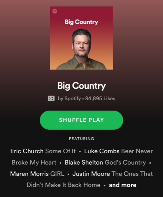 Big Country Spotify playlist