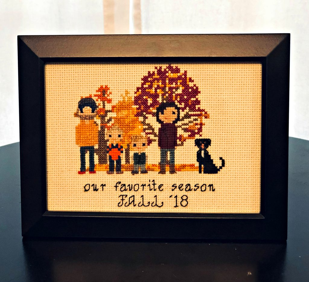 fall cross-stitch family portrait