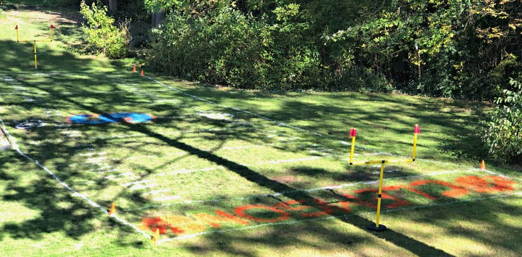 Backyard football field in the fall