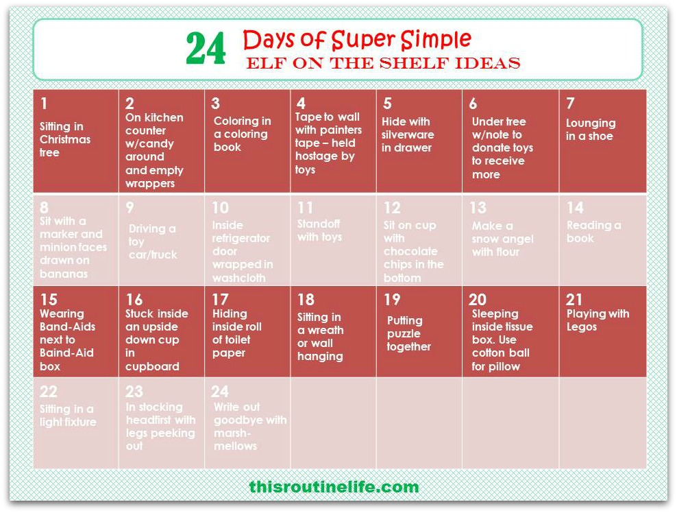 24 Days of Super Simple Elf on the Shelf Ideas