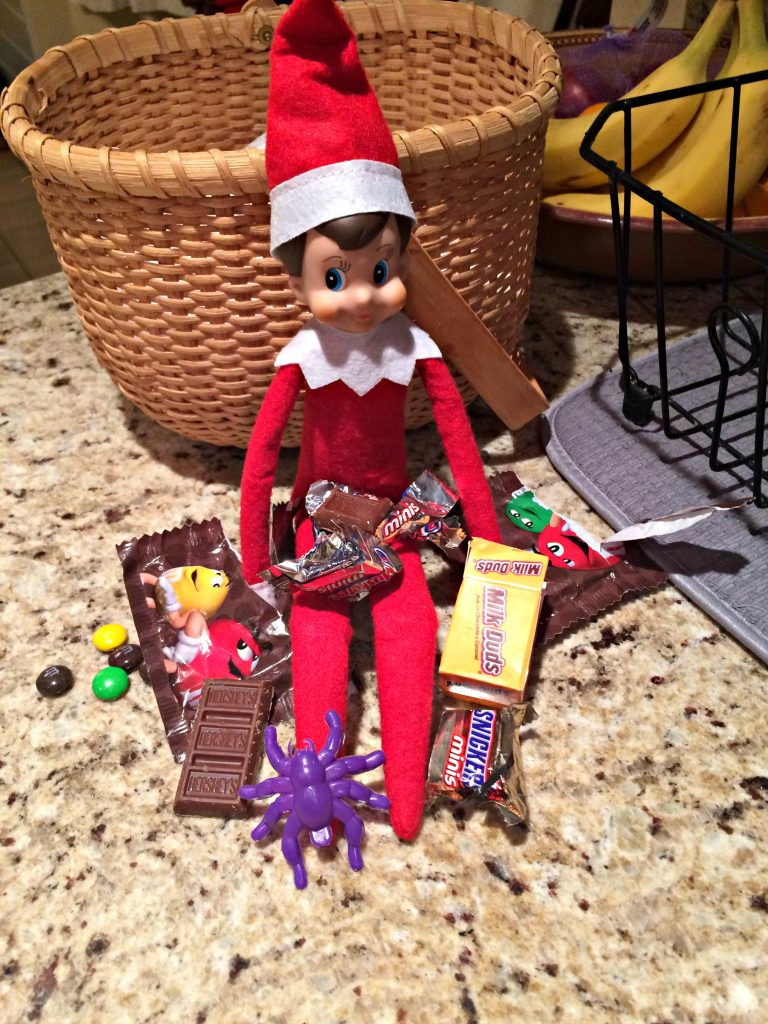 Elf on the Shelf ate candy and left the wrappers behind