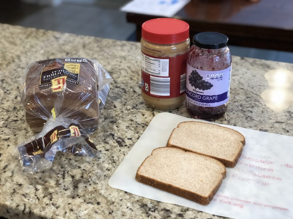 Peanut butter and jelly for lunch as part of the afternoon routine