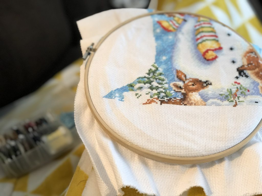 Cross-stitching as part of the afternoon routine.