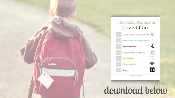 child returning home after school with after school routine checklist