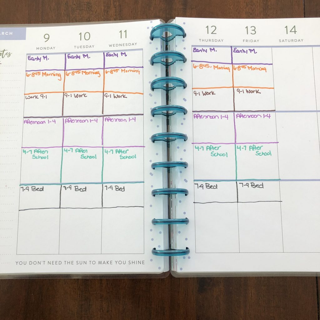 Time Blocks in Dayplanner