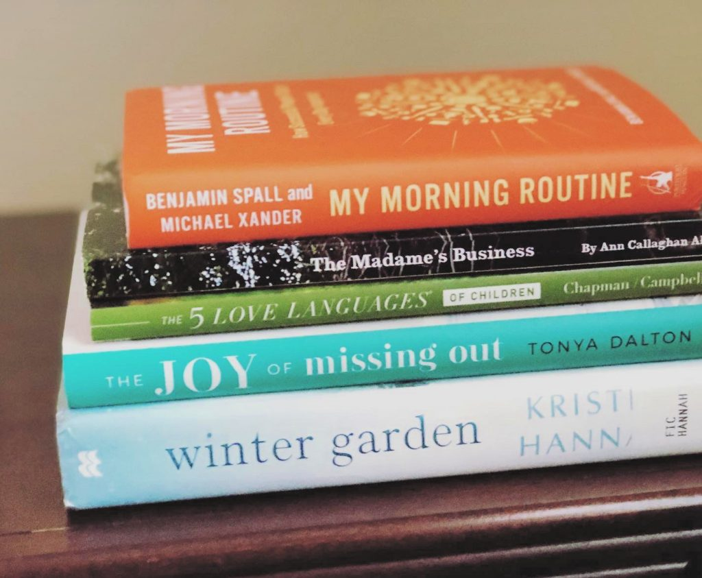 A stack of books that were read as part of my reading routine.
