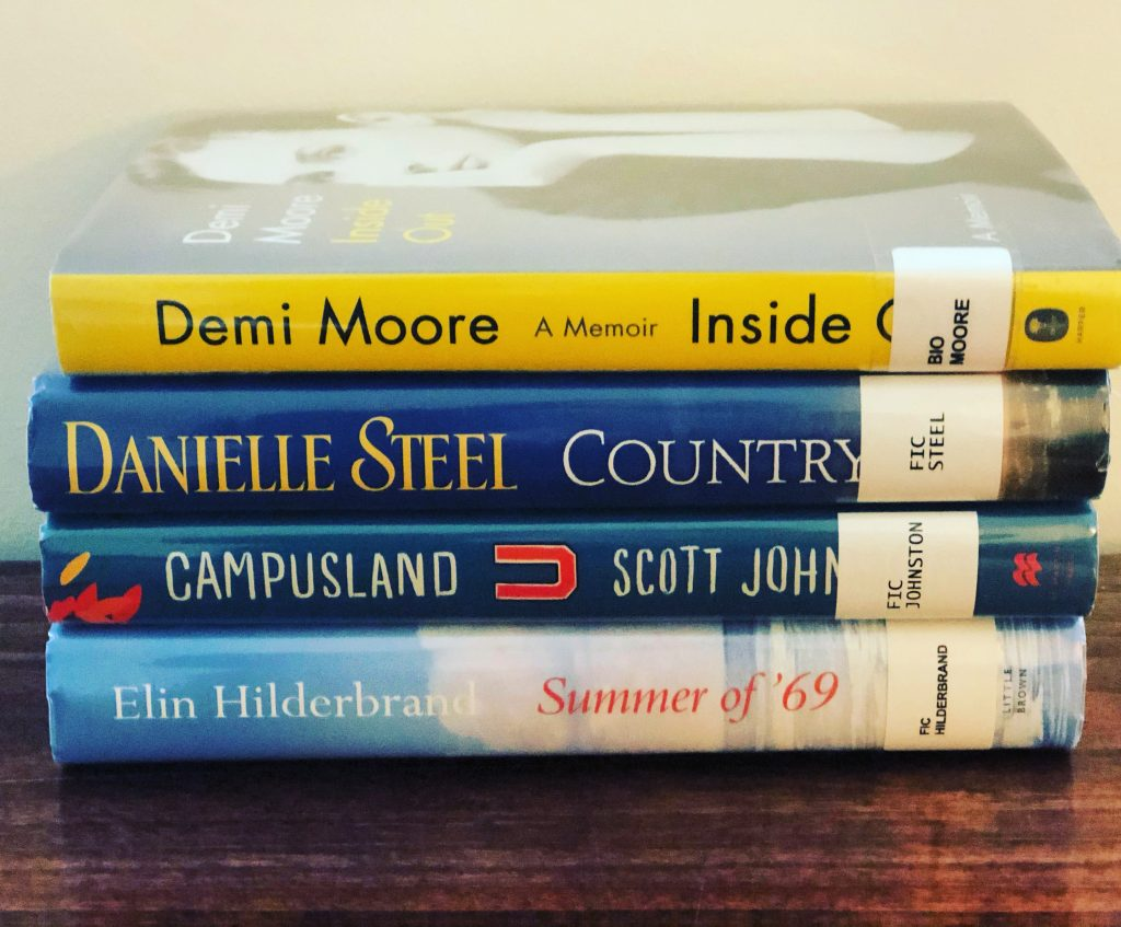 A stack of books that were read as part of a reading routine.