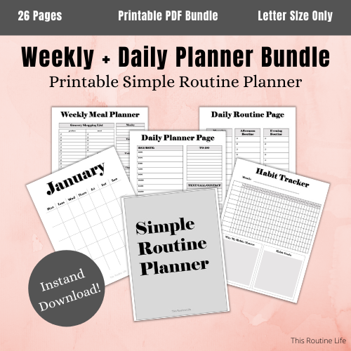 Simple Routine Planner printable dayplanner