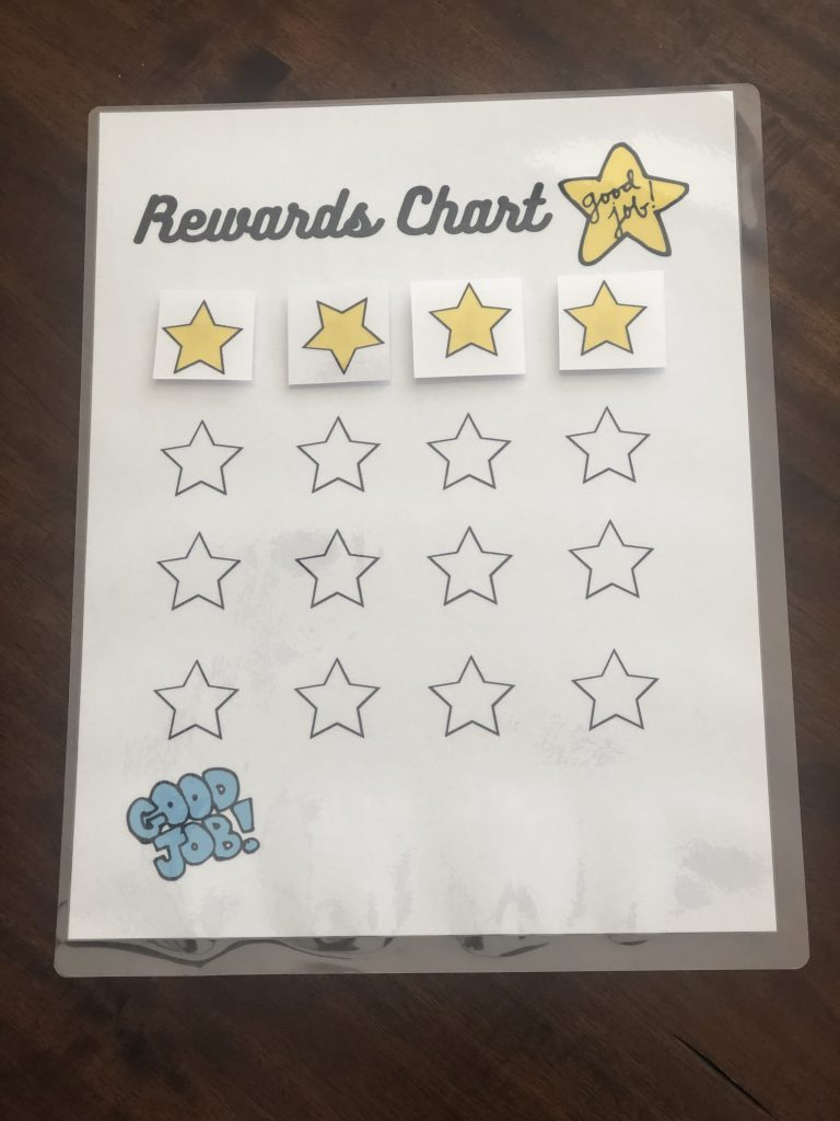 Reward Chart with golden stars included on chart.